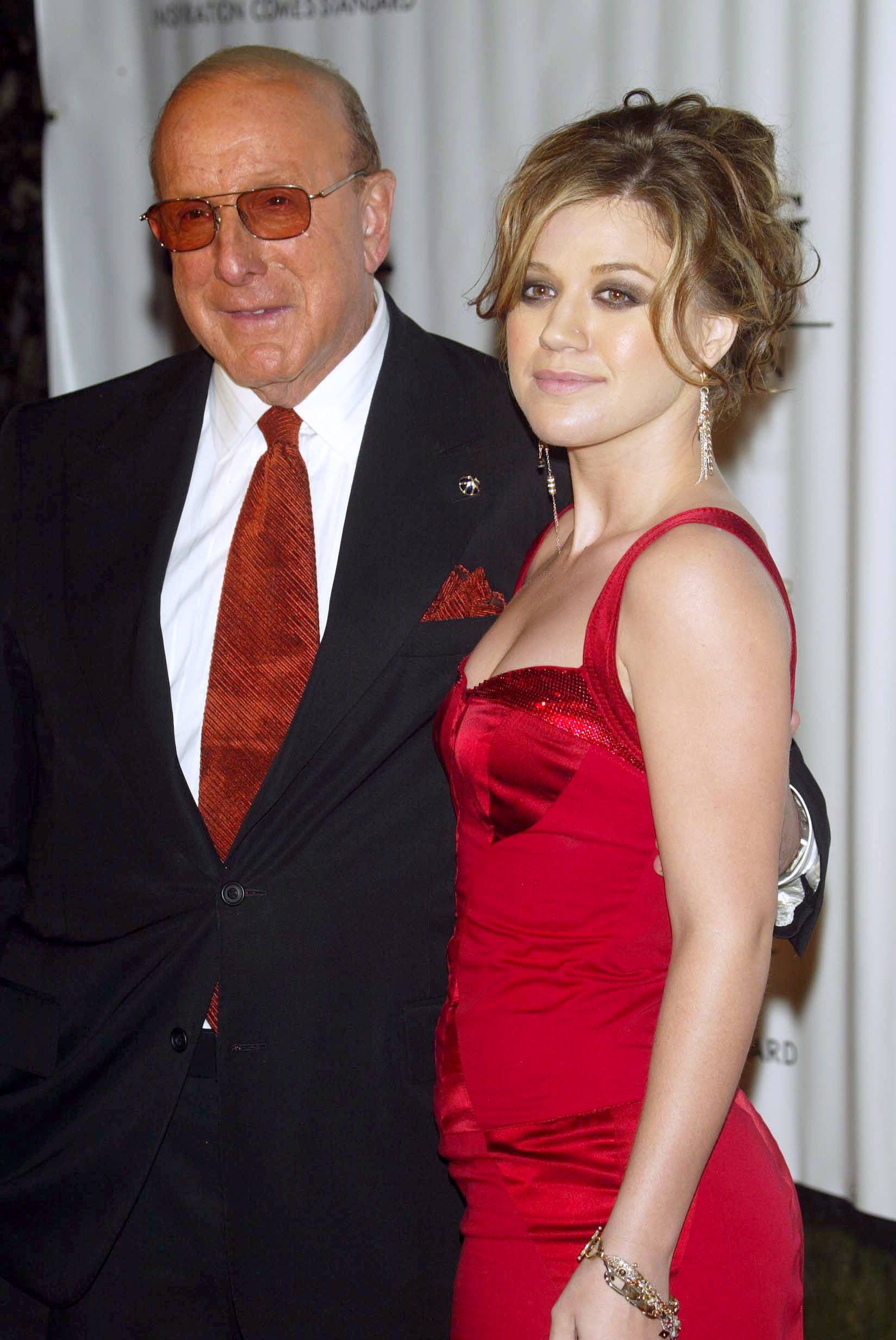 Kelly Clarkson Clive Davis red carpet Grammy party mentor