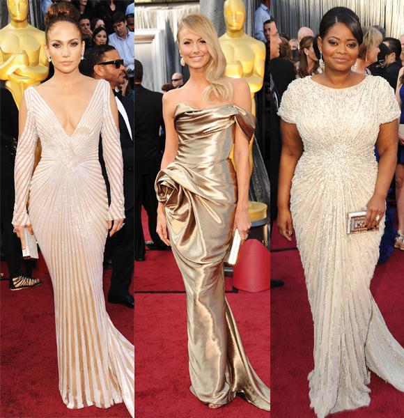 Jennifer Lopez Stacy Keibler Octavia Spencer 2012 Oscars gold gowns