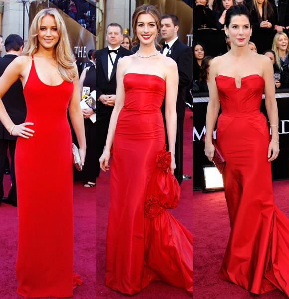 Jennifer Lawrence Anne Hathaway Sandra Bullock red dress 2011 Oscars
