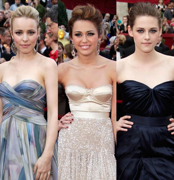 Rachel McAdams Miley Cyrus Kristen Stewart updos 2012 oscars