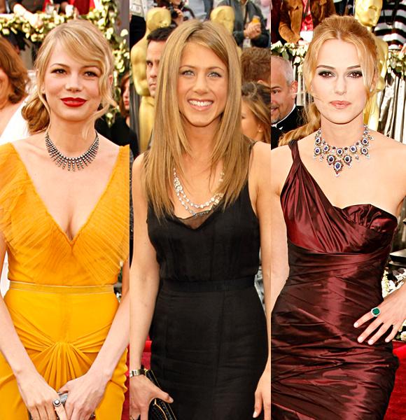 Michelle Williams Jennifer Aniston Keira Knightley necklaces 2006 Oscars