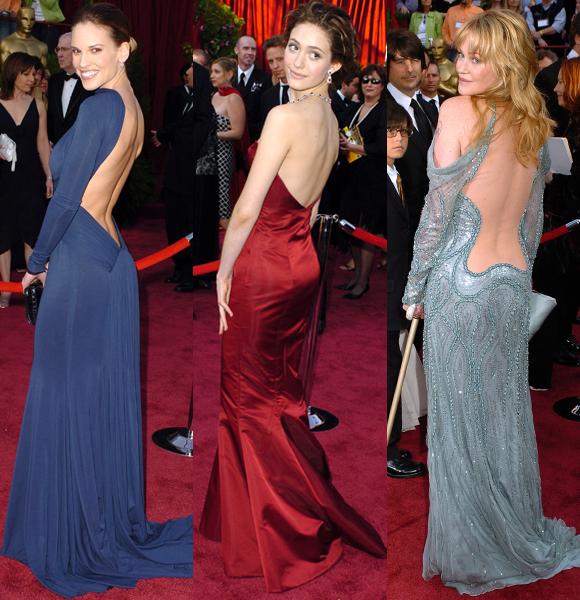 Hilary Swank Emmy Rossum Melanie Griffith 2005 Oscars backless dresses