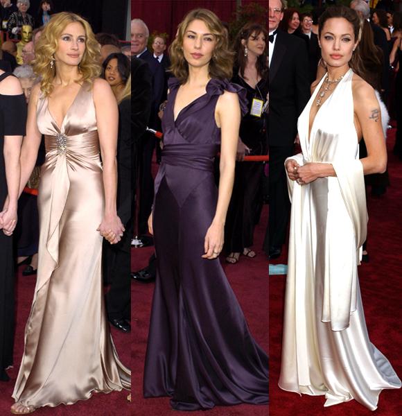 Julia Roberts Sofia Coppola Angelina Jolie 2004 Oscars silk dresses