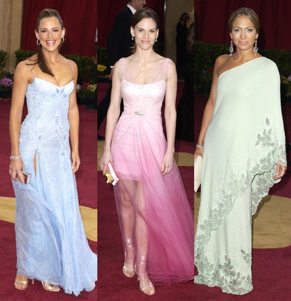 Jennifer Garner Jennifer Lopez Hilary Swank 2003 Oscars pastel dresses