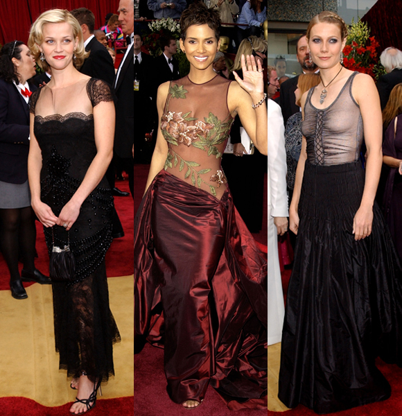 Halle Berry Gwyneth Paltrow Reese Witherspoon 2002 sheer dresses