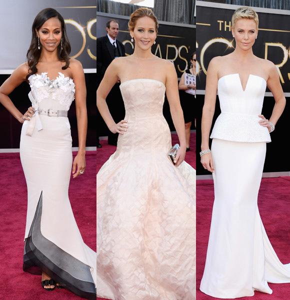 Charlize Theron Jennifer Larence Zoe Saldana 2013 Oscars Academy Awards