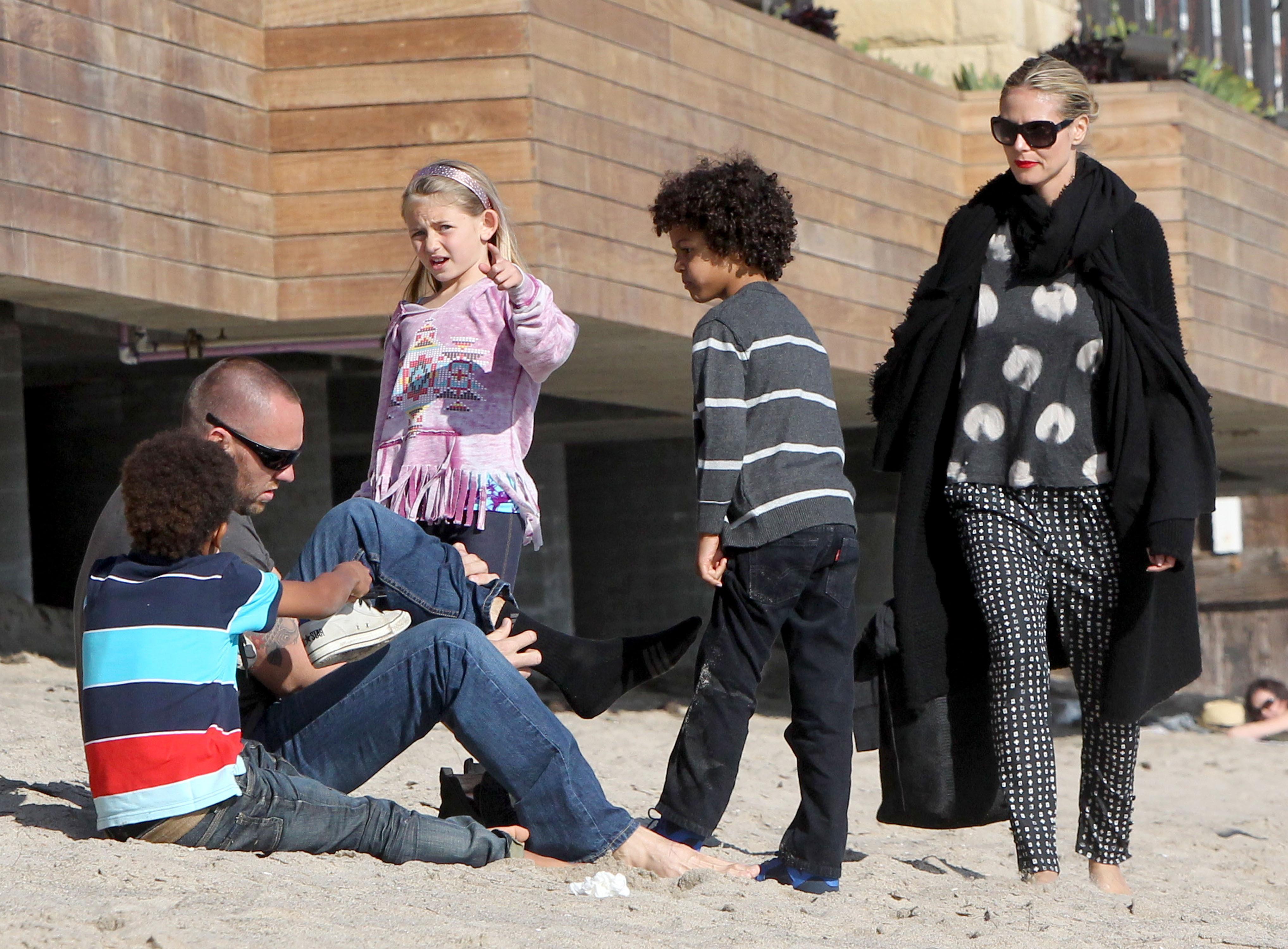 Heidi Klum Martin Kristen beach kids
