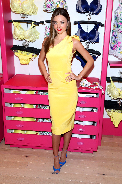 miranda kerr victoria's secret bras underwear yellow dress collection