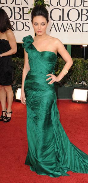 Mila Kunis Rachel Weisz emerald gown