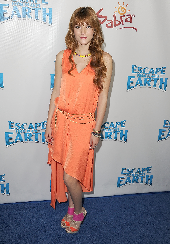Bella Thorne peach orange dress