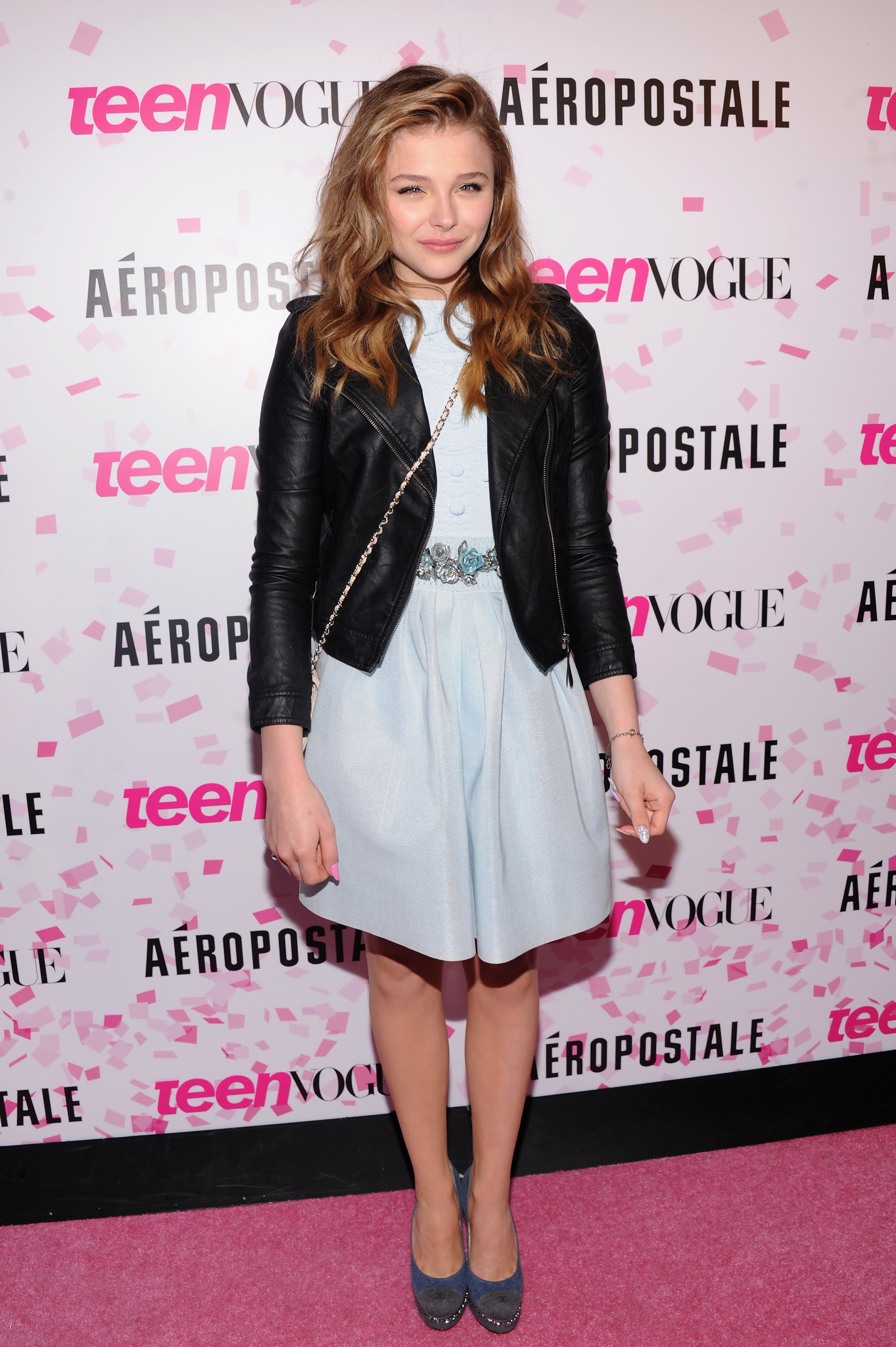 Chloe Moretz blue skirt black leather jacket