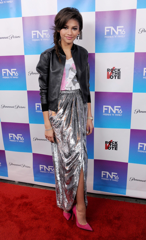 Zendaya Silver skirt t shirt black leather jacket