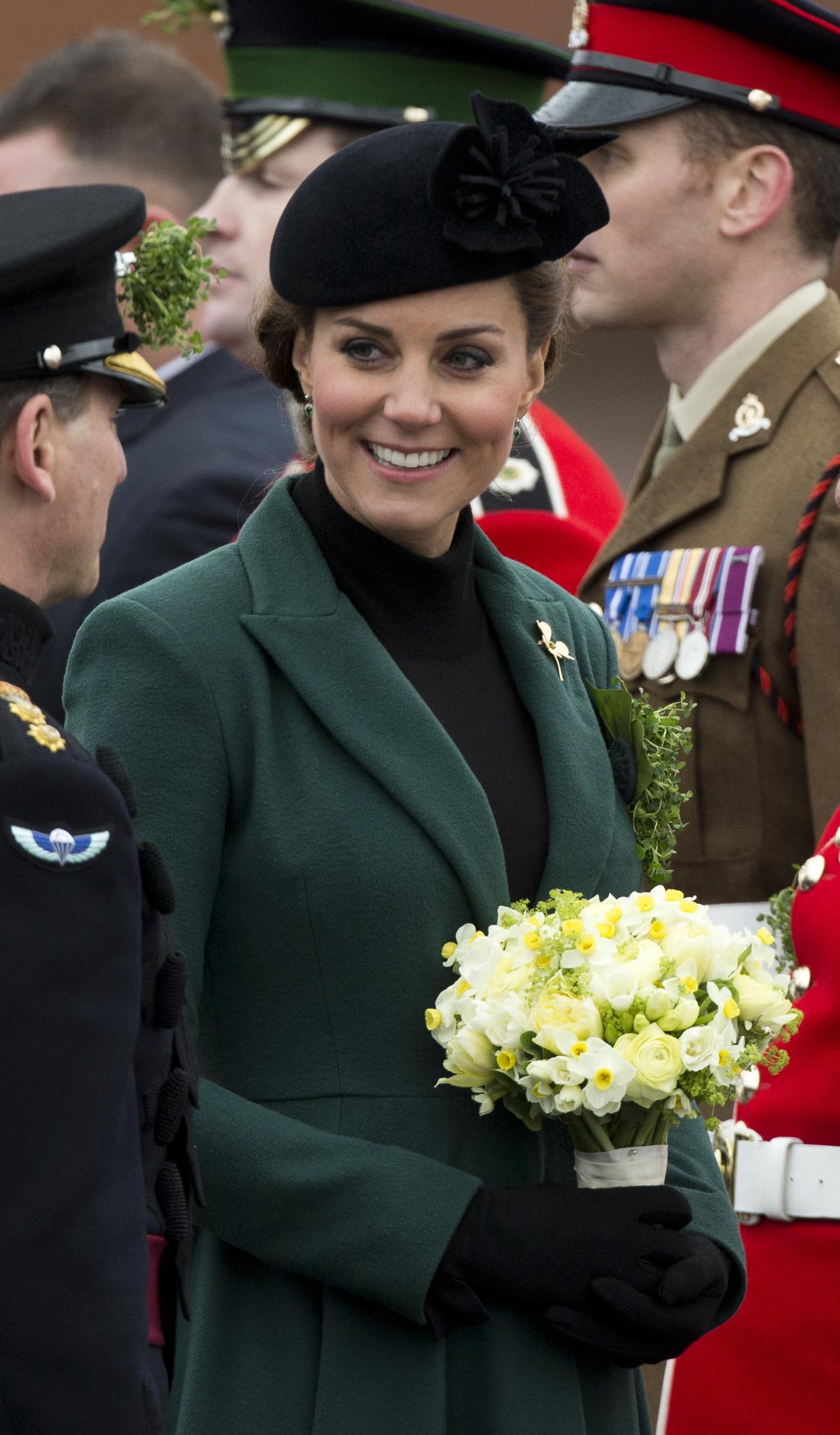 Duchess Kate Middleton Prince William Baby Gender St. Patricks green coat
