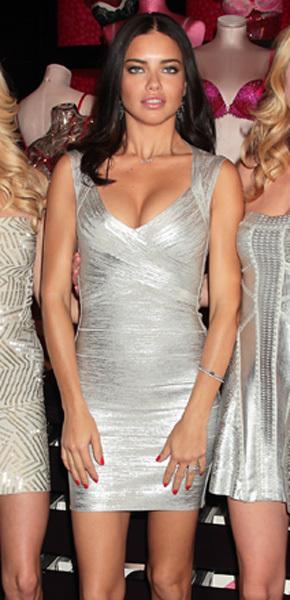 Adriana Lima Herve Leger metallic herve leger dress