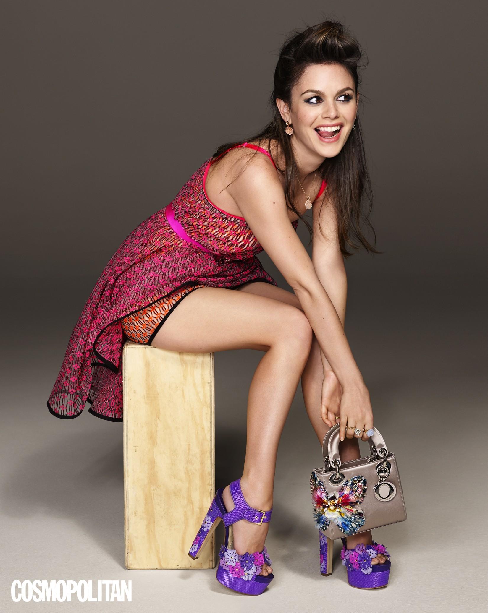 Rachel Bilson cosmopolitan magenta dress purple heels