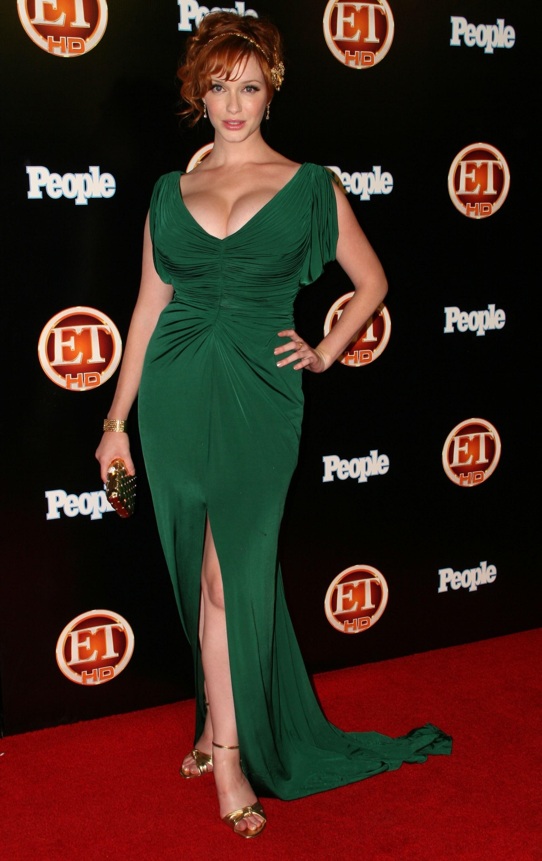 Christina Hendricks green dress