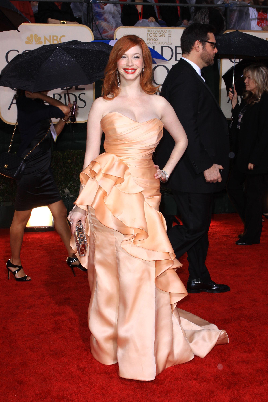 Christina Hendricks 2010 Golden Globes peach christian siriano gown