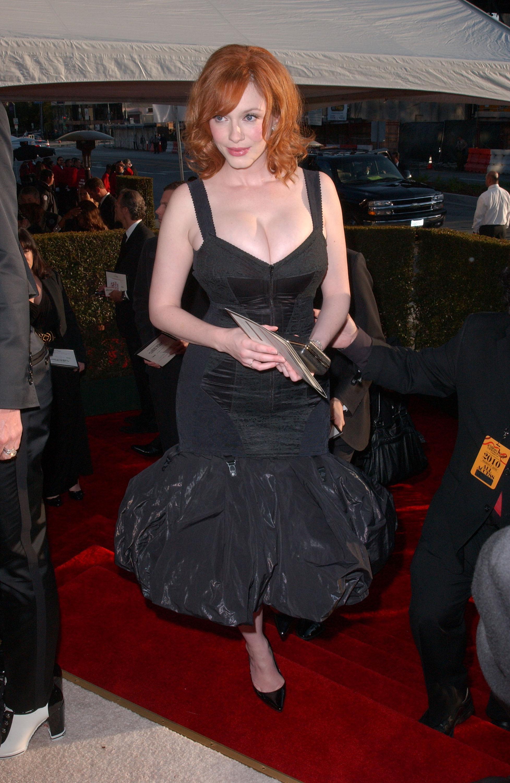 Christina Hendricks black dress elton john party