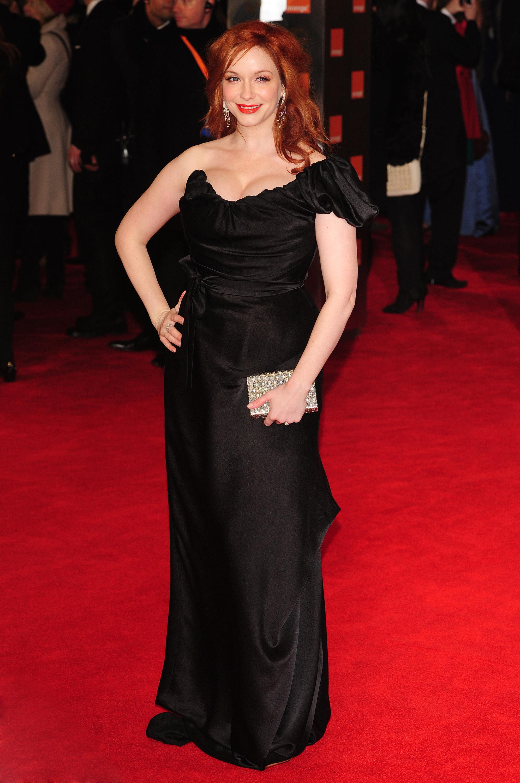 Christina Hendricks 2012 bafta black vivienne westwood gown