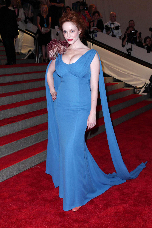 Christina Hendricks blue L'Wren Scott dress 2010 Met Gala