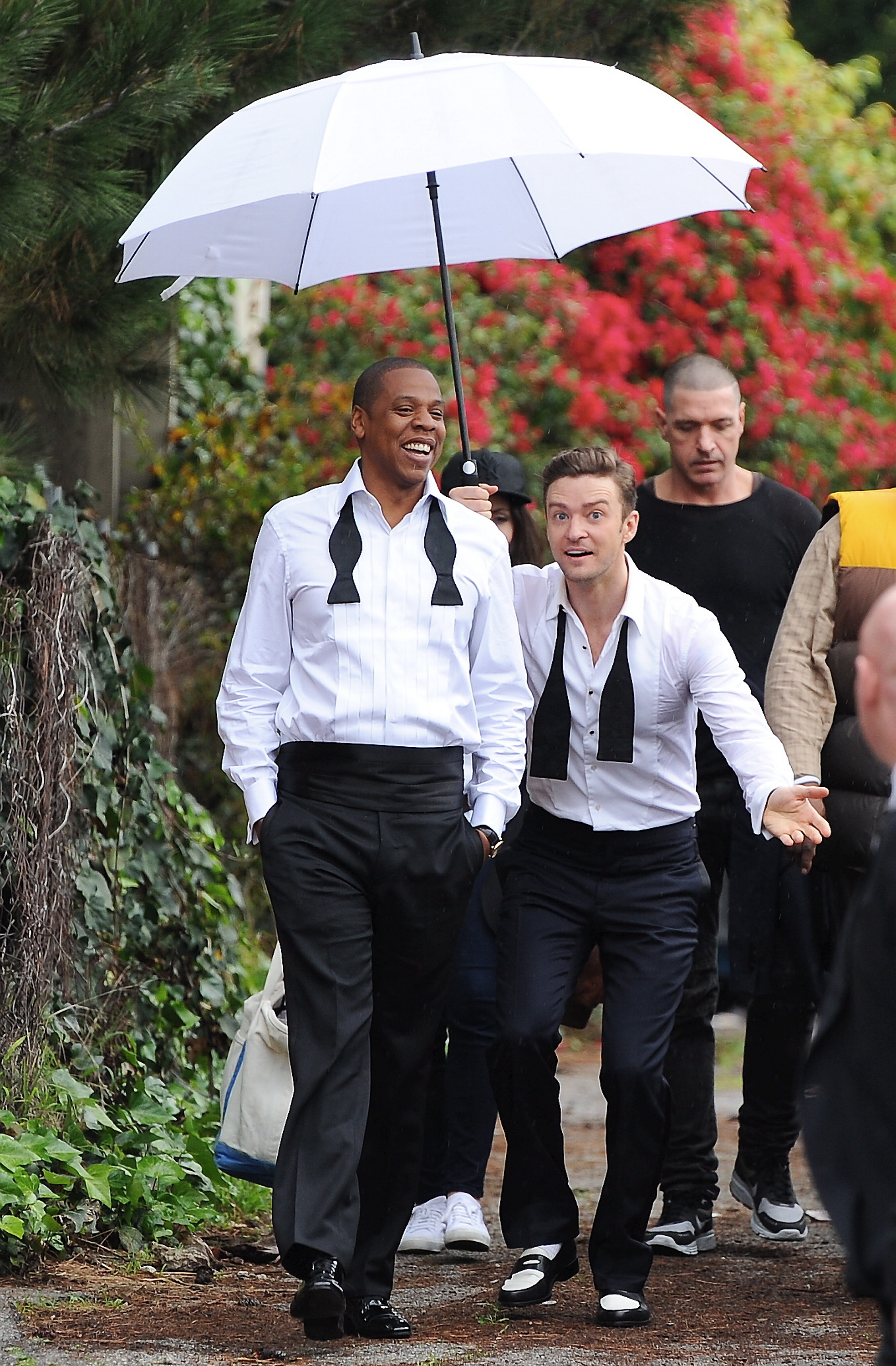 Justin Timberlake Jay z suit and tie umbrella