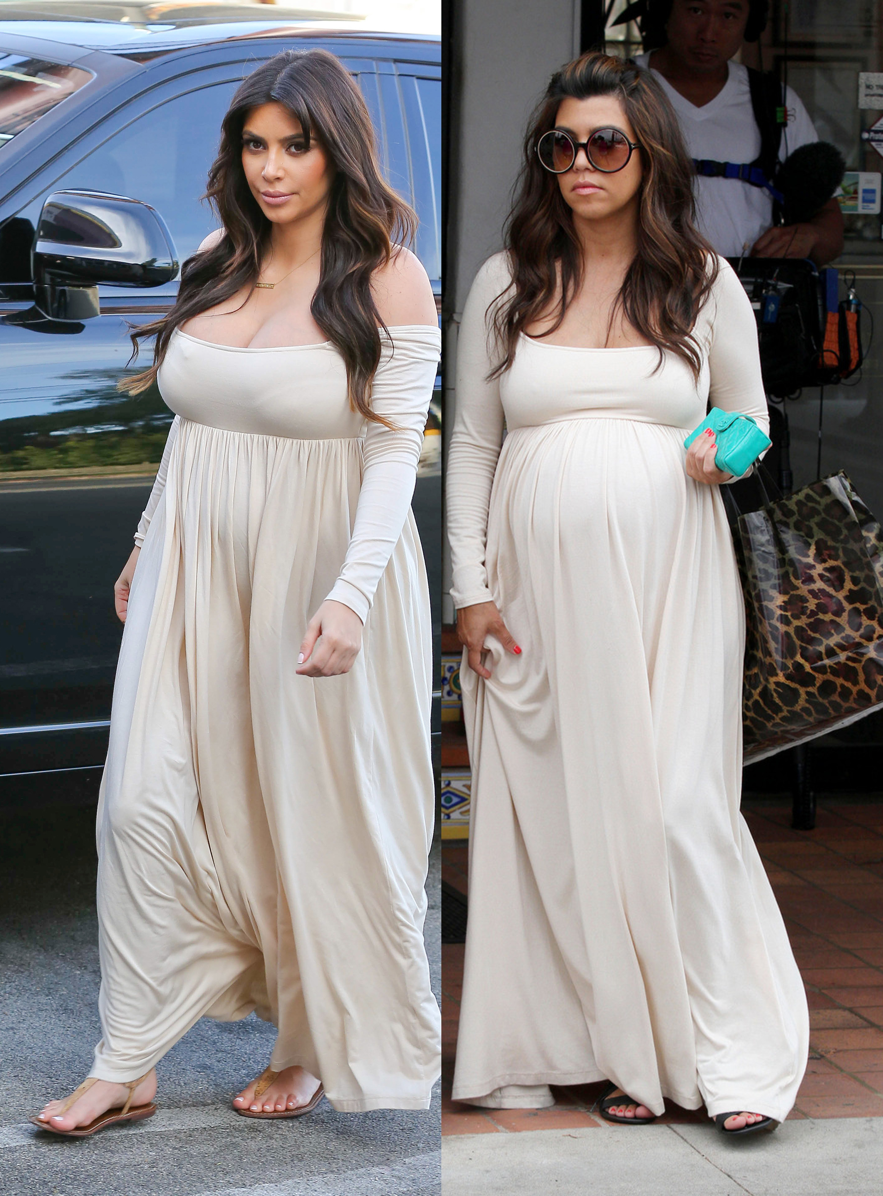 kim kardashian kourtney kardashian beige maxi dress maternity cleavage