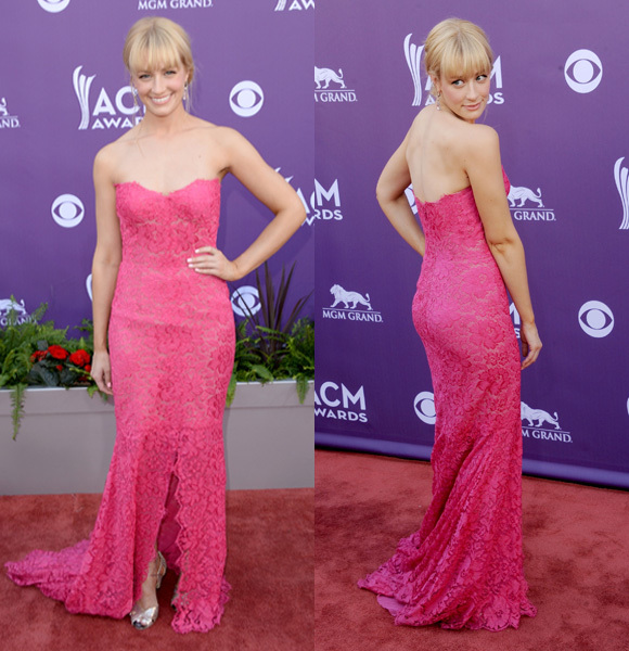Beth Behrs pink lace dress 2013 ACM awards