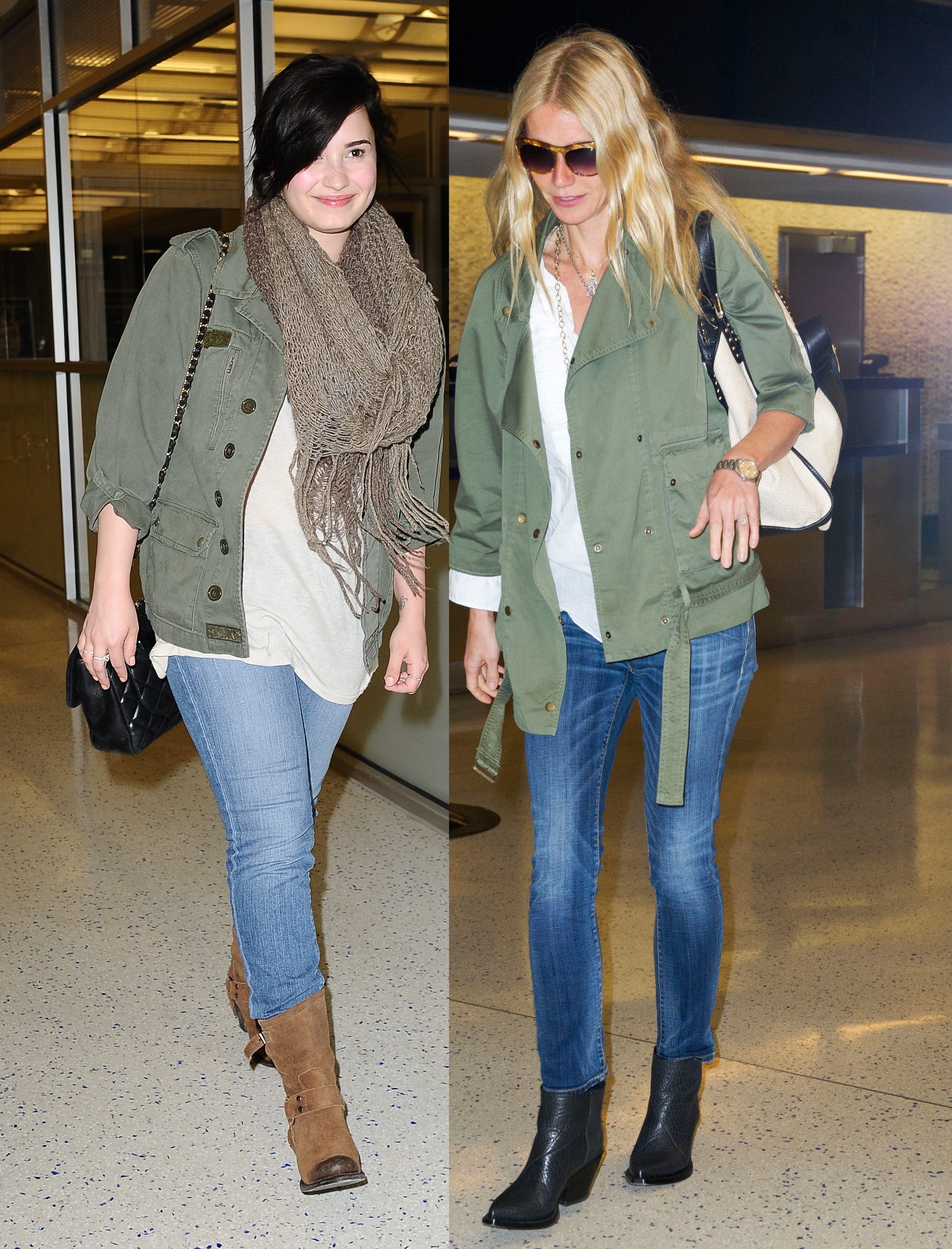 gwyneth paltrow demi lovato matching outfits airport twitter army jackets