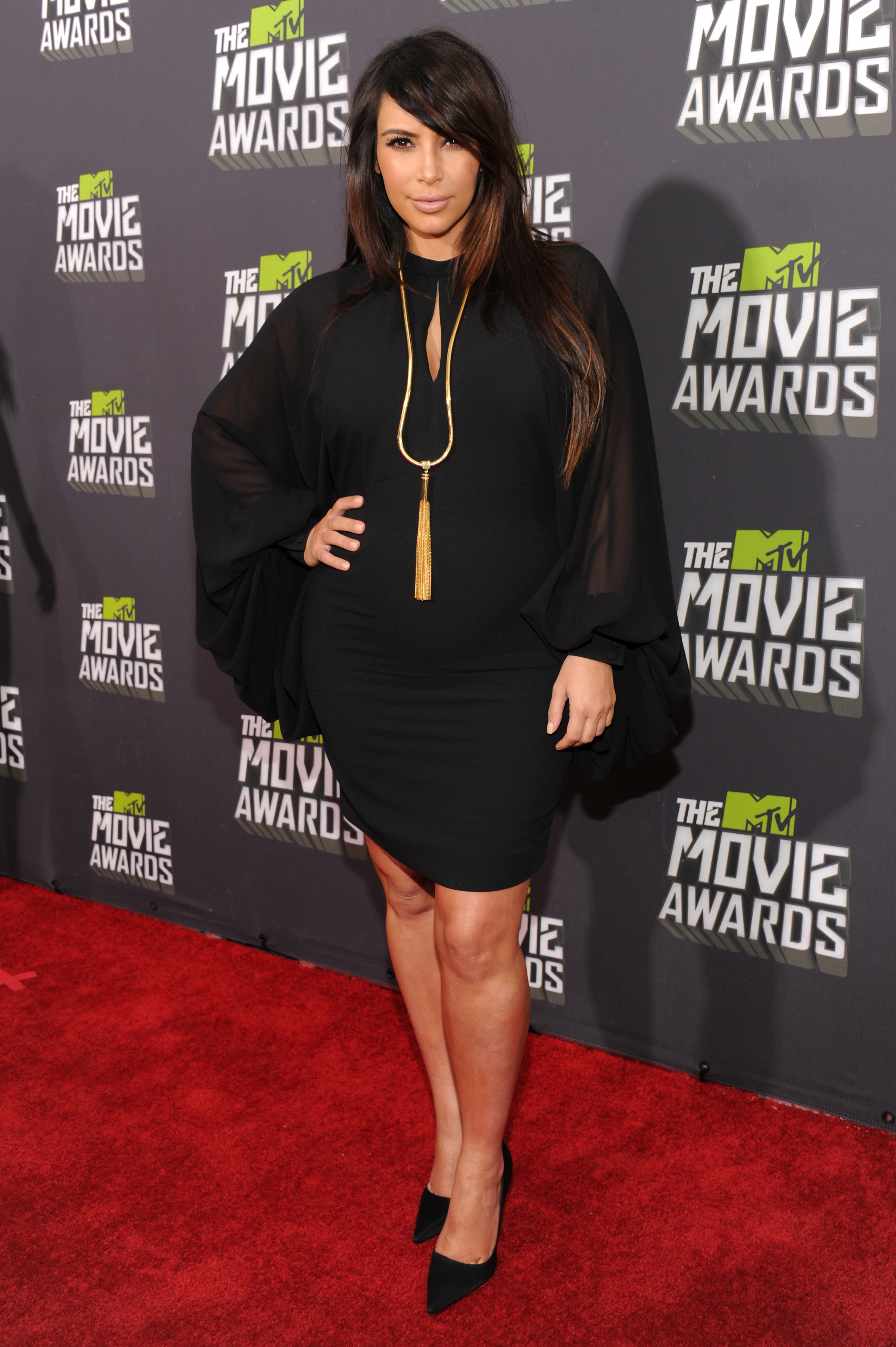 Kim Kardashian Black dress 2013 MTV Movie Awards