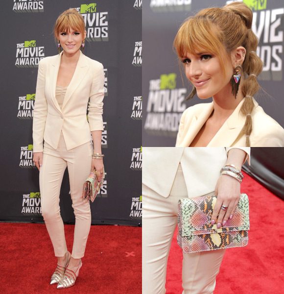 Bella Thorne white pantsuit 2013 mtv movie awards