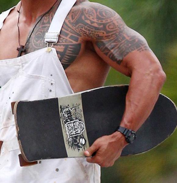 Dwayne Johnson The Rock overalls skateboard