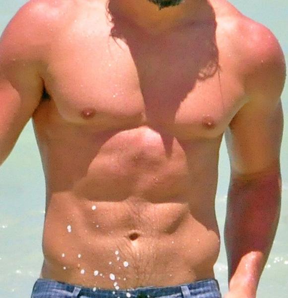 Joe Mangienello ocean blue shorts shirtless