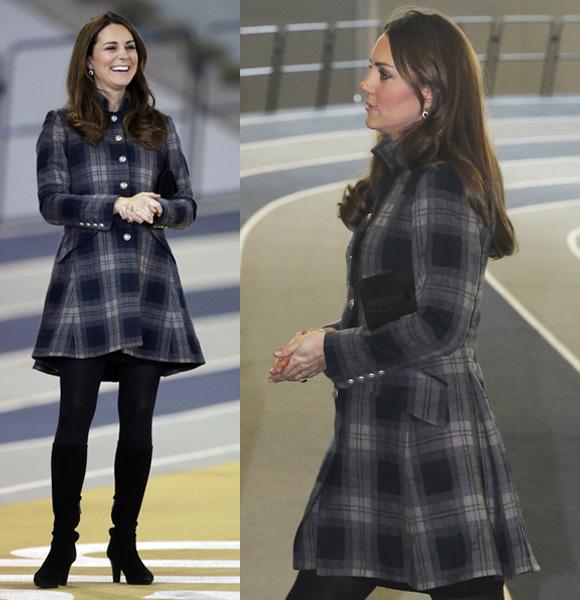 Duchess Kate tartan blue gray coat