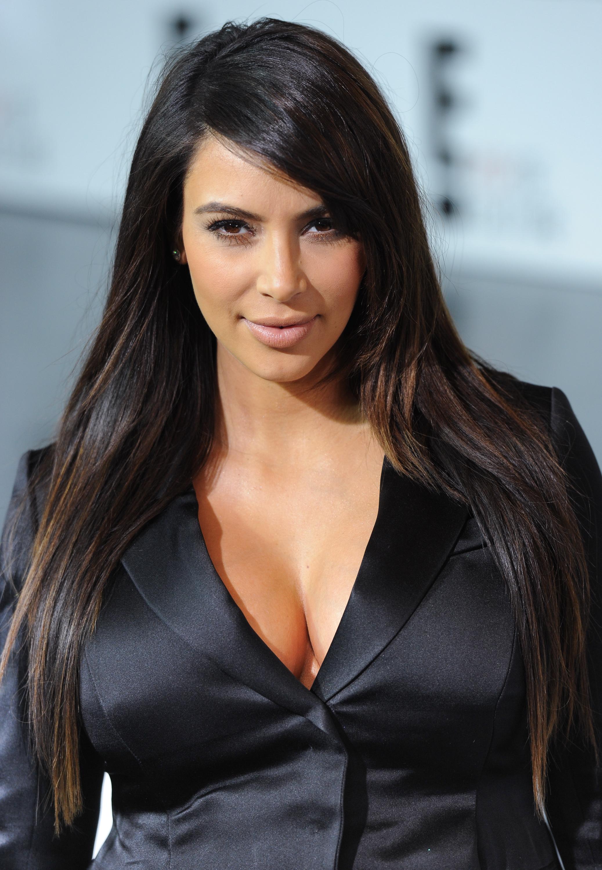 Kim Kardashian side swept bangs