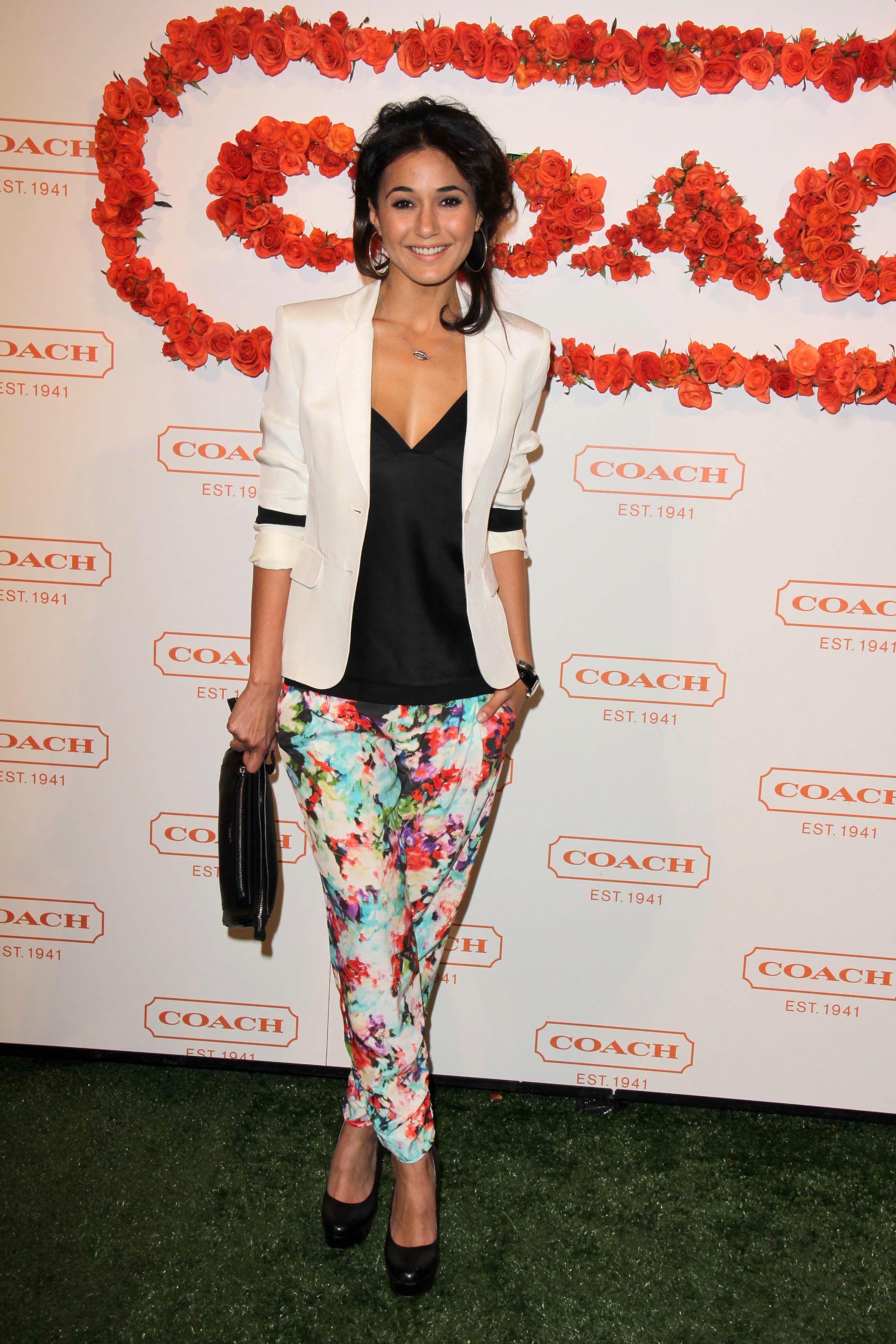 Emmanuelle Chriqui print pants
