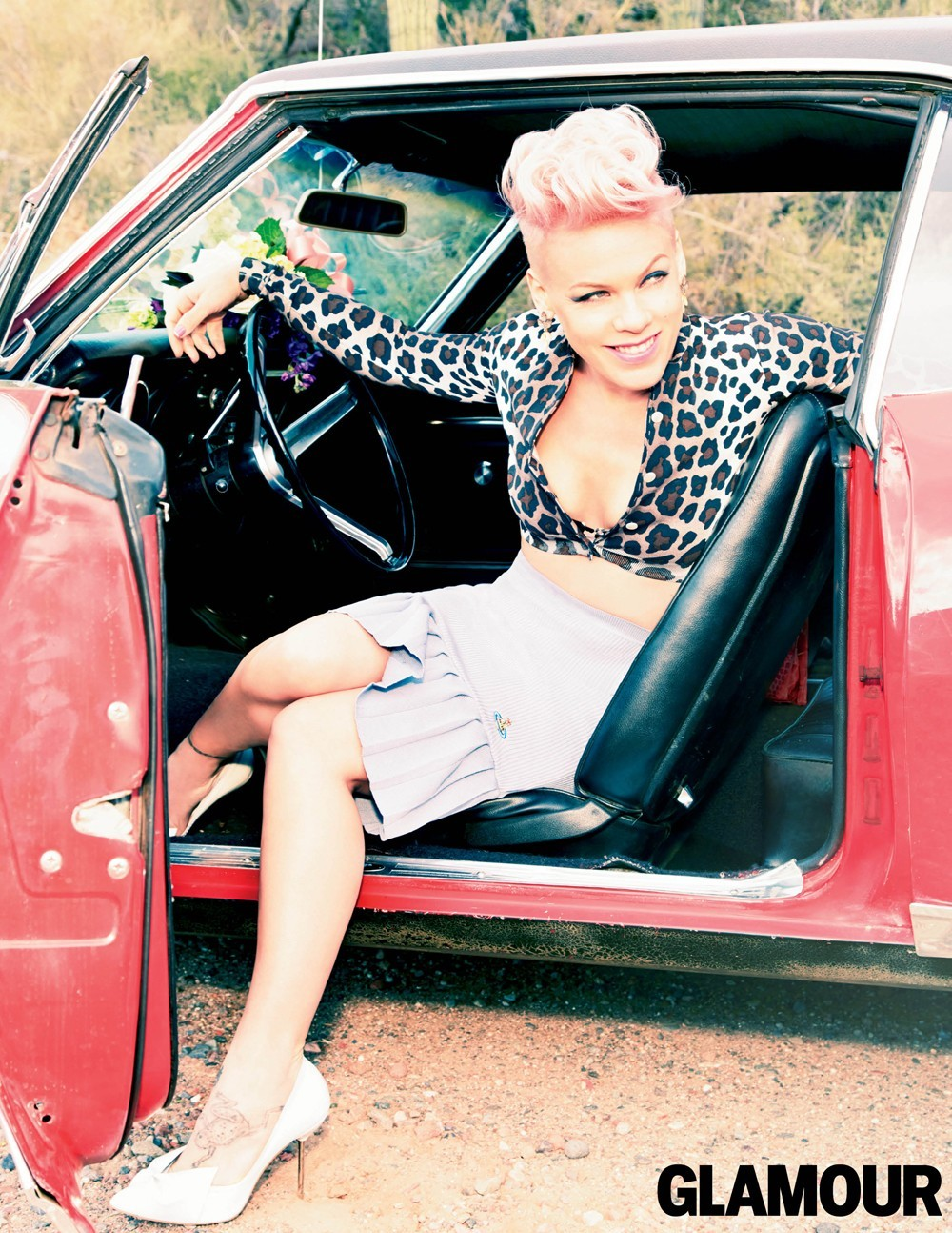 Pink car white skirt leopard top