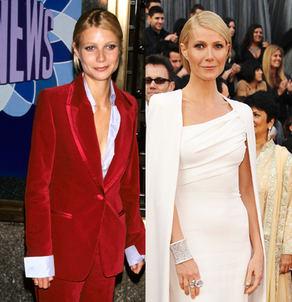 Gwyneth Paltrow red velvet suit white dress