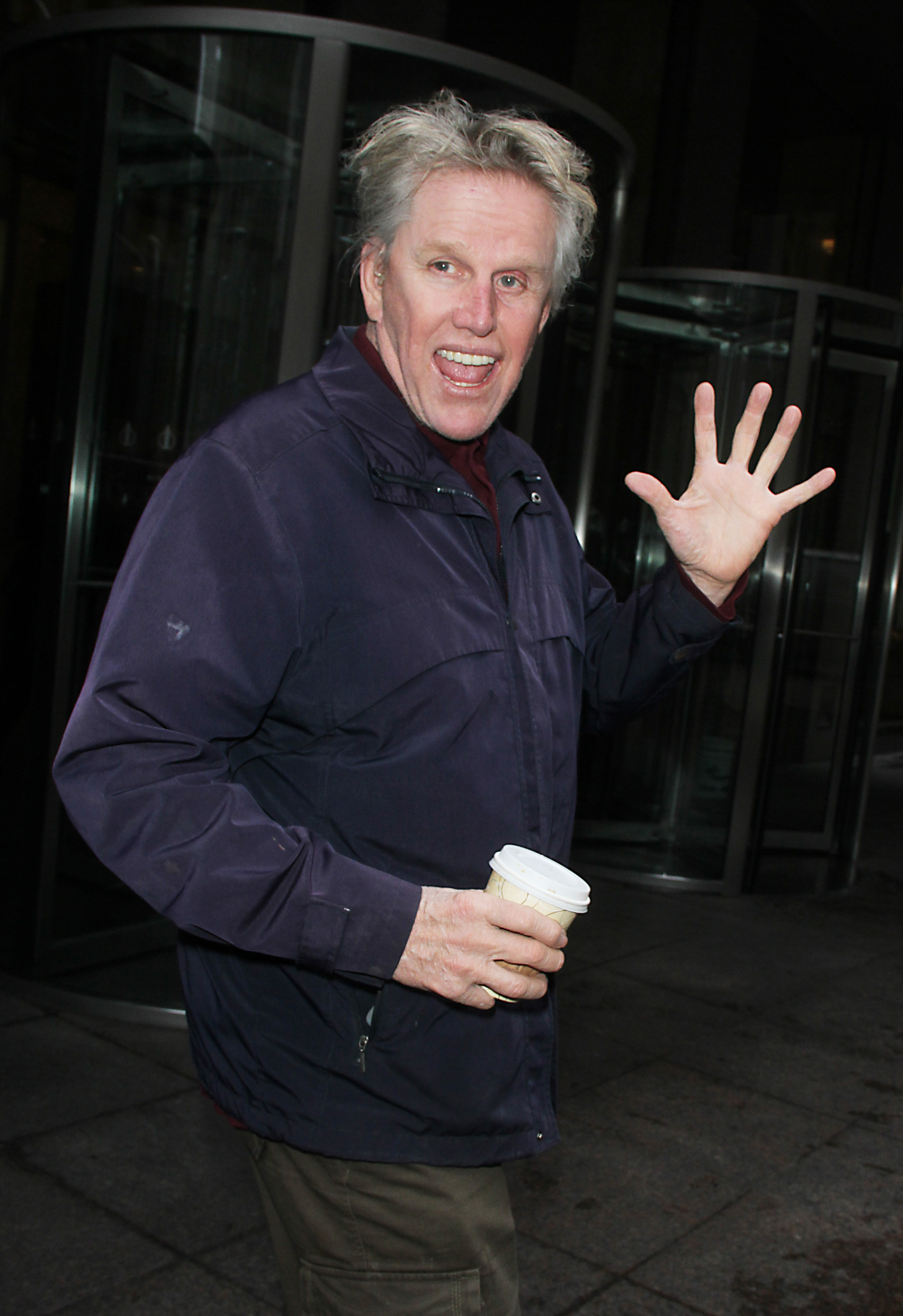 Gary Busey blue jacket coffee