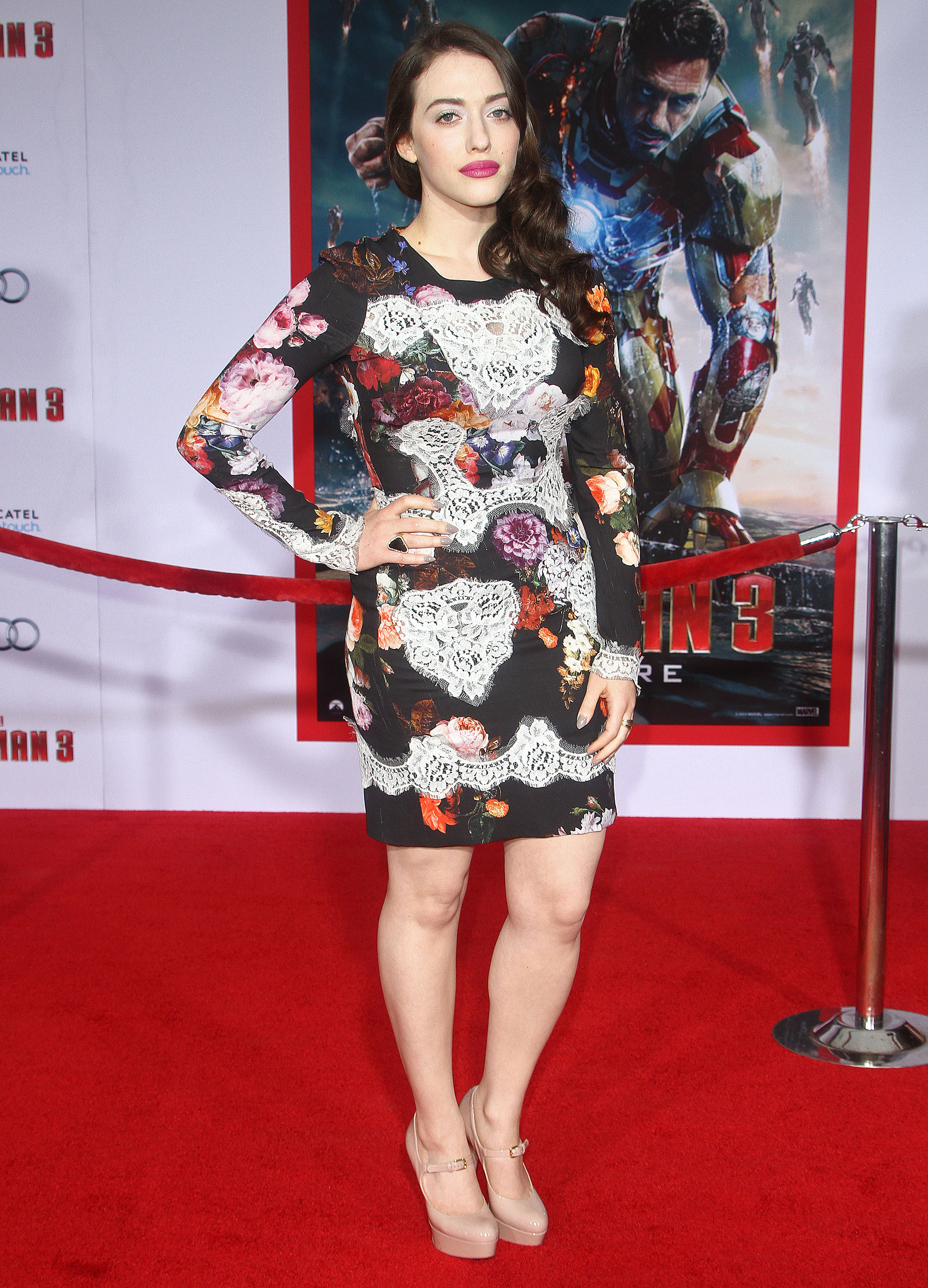 Kat Dennings floral dolce & gabbana dress