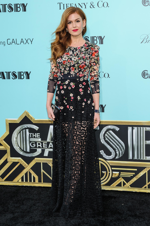 Isla Fisher floral black dress