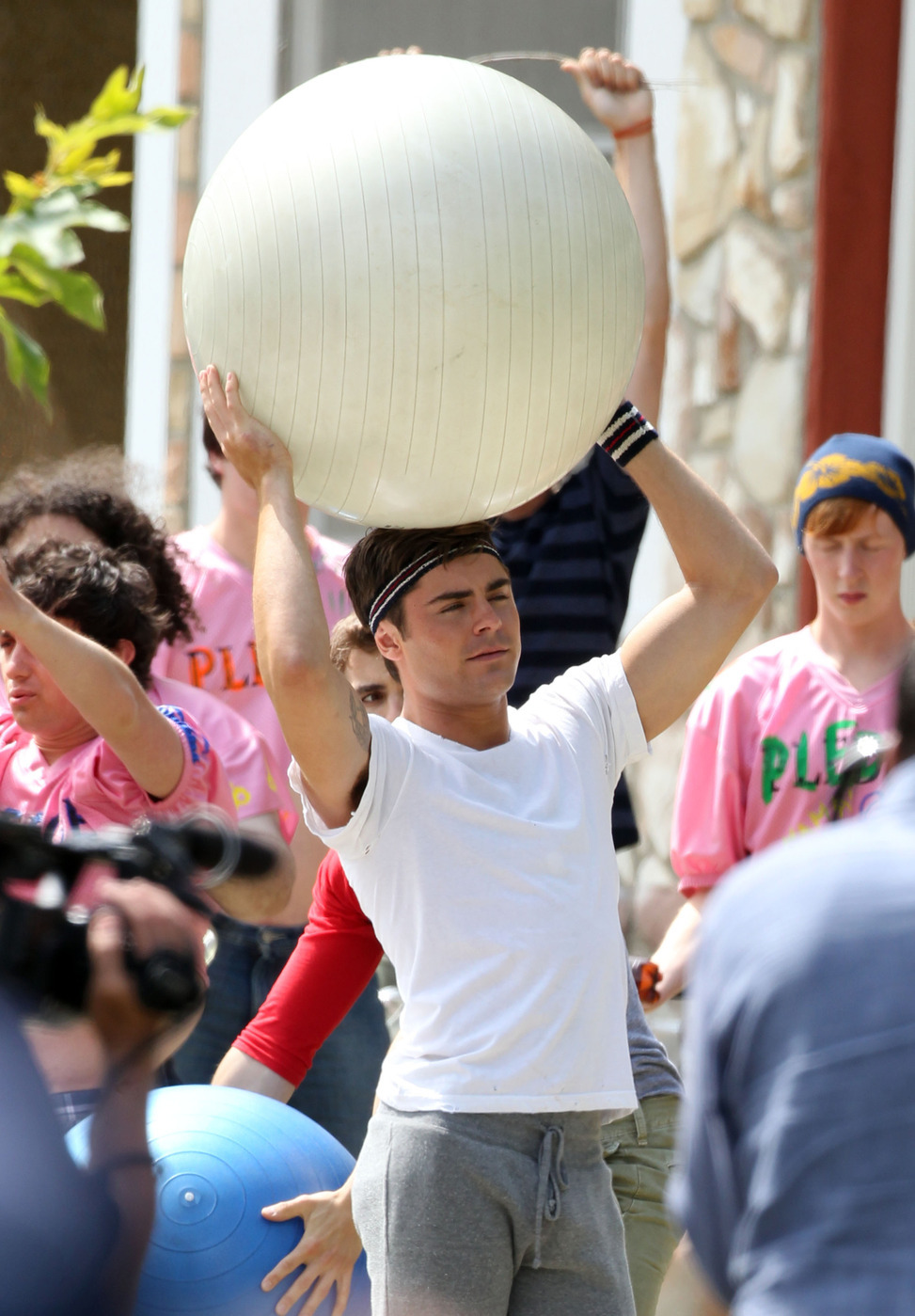 zac efron townies giant balls exercise sweatpants tight shirt dave franco