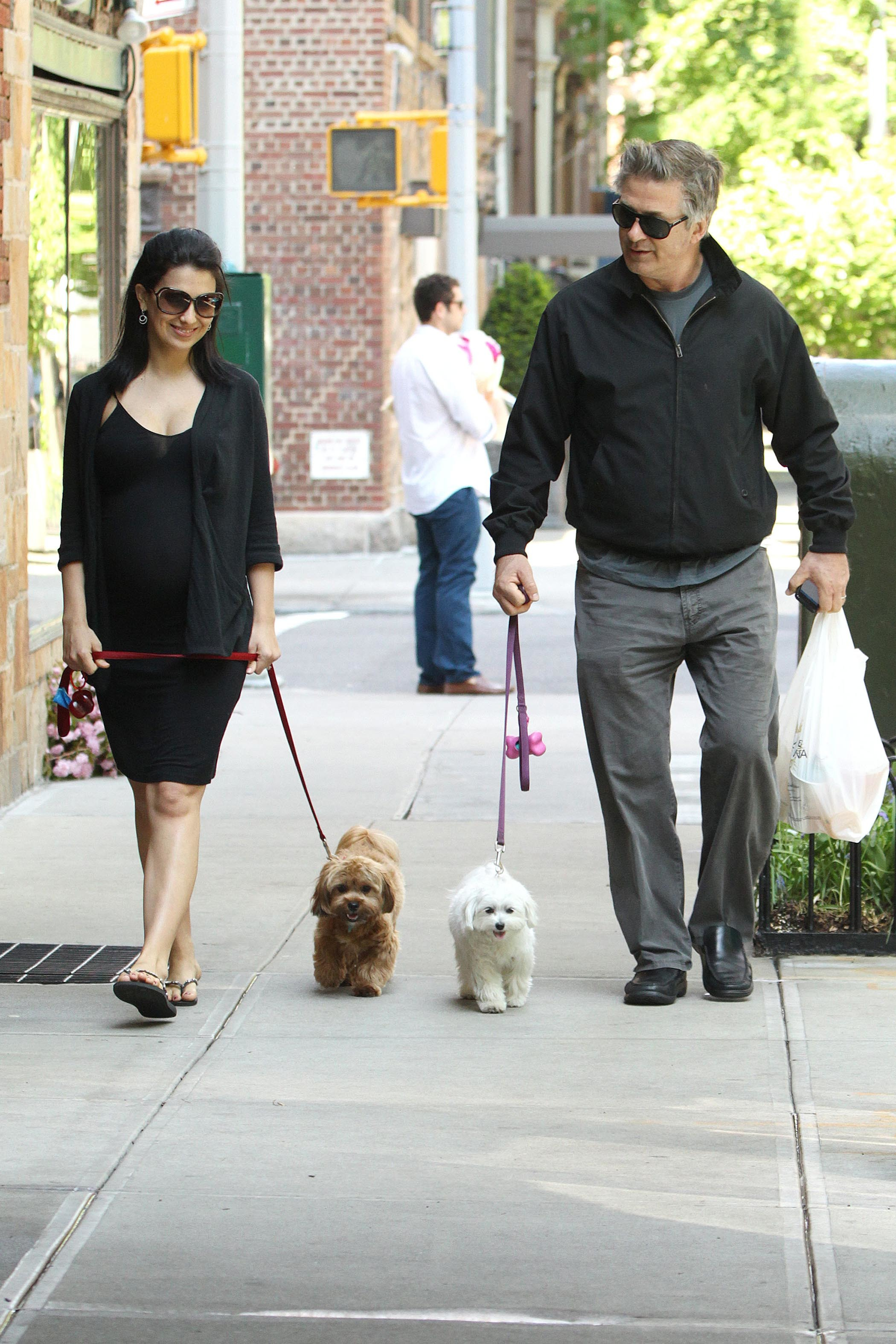 hilaria thomas alec baldwin dog walking
