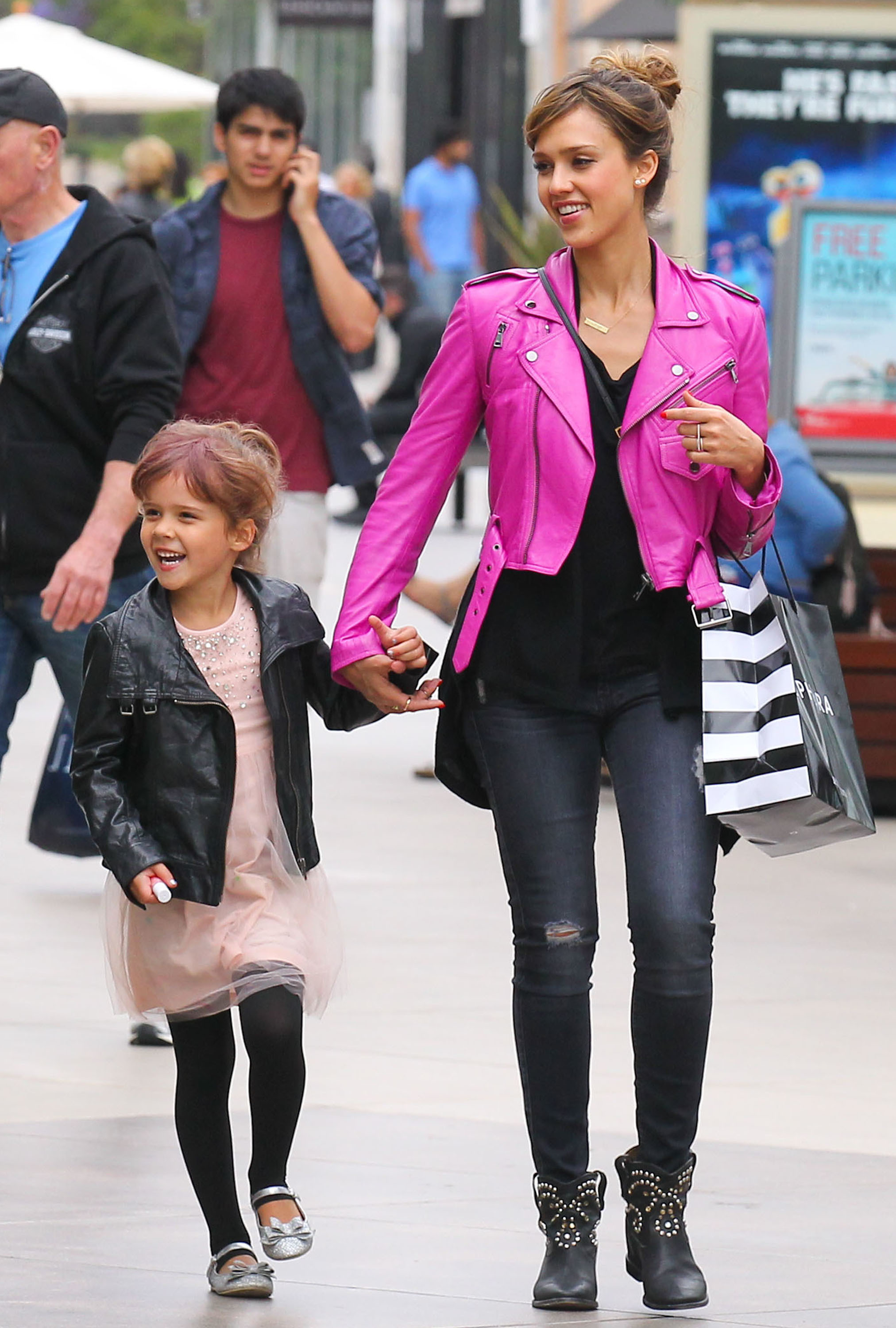 Jessica Alba pink motorcycle jacket