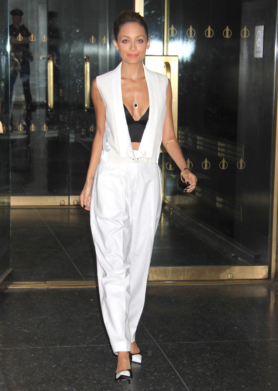 Nicole Richie White vest pants J Brand