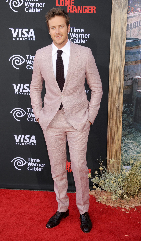 Armie Hammer pink suit
