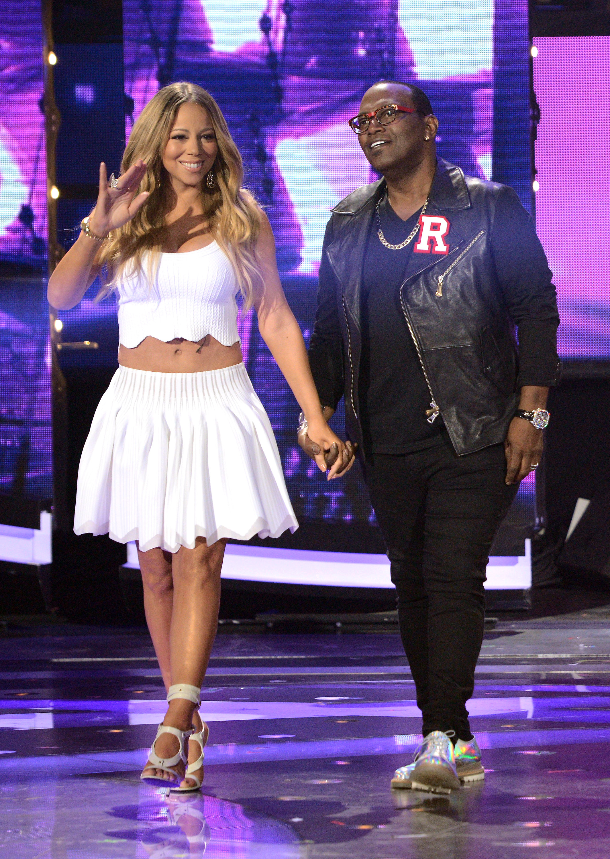 Mariah Carey American Idol white cropped top skirt