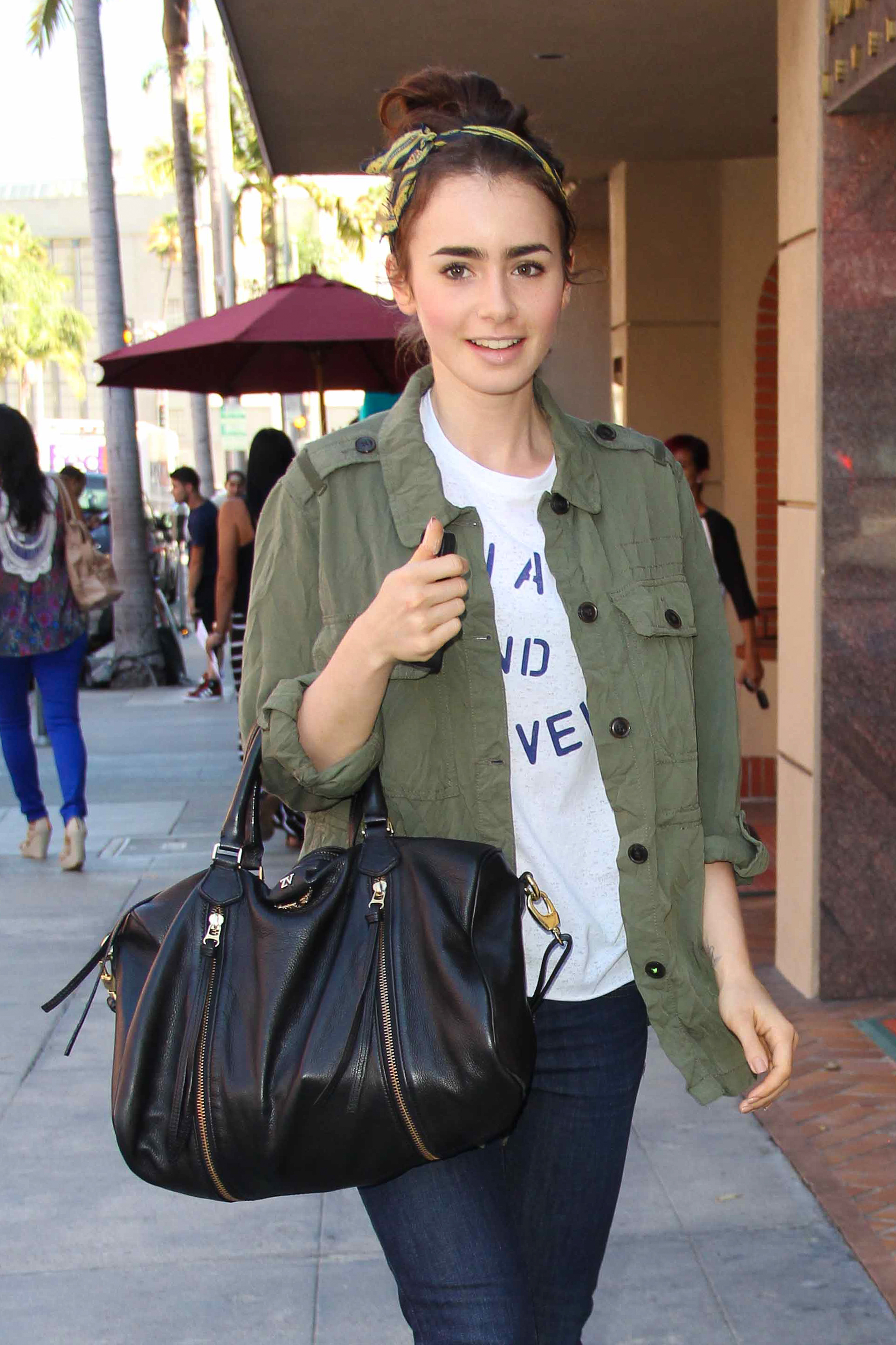 lily collins headscarf