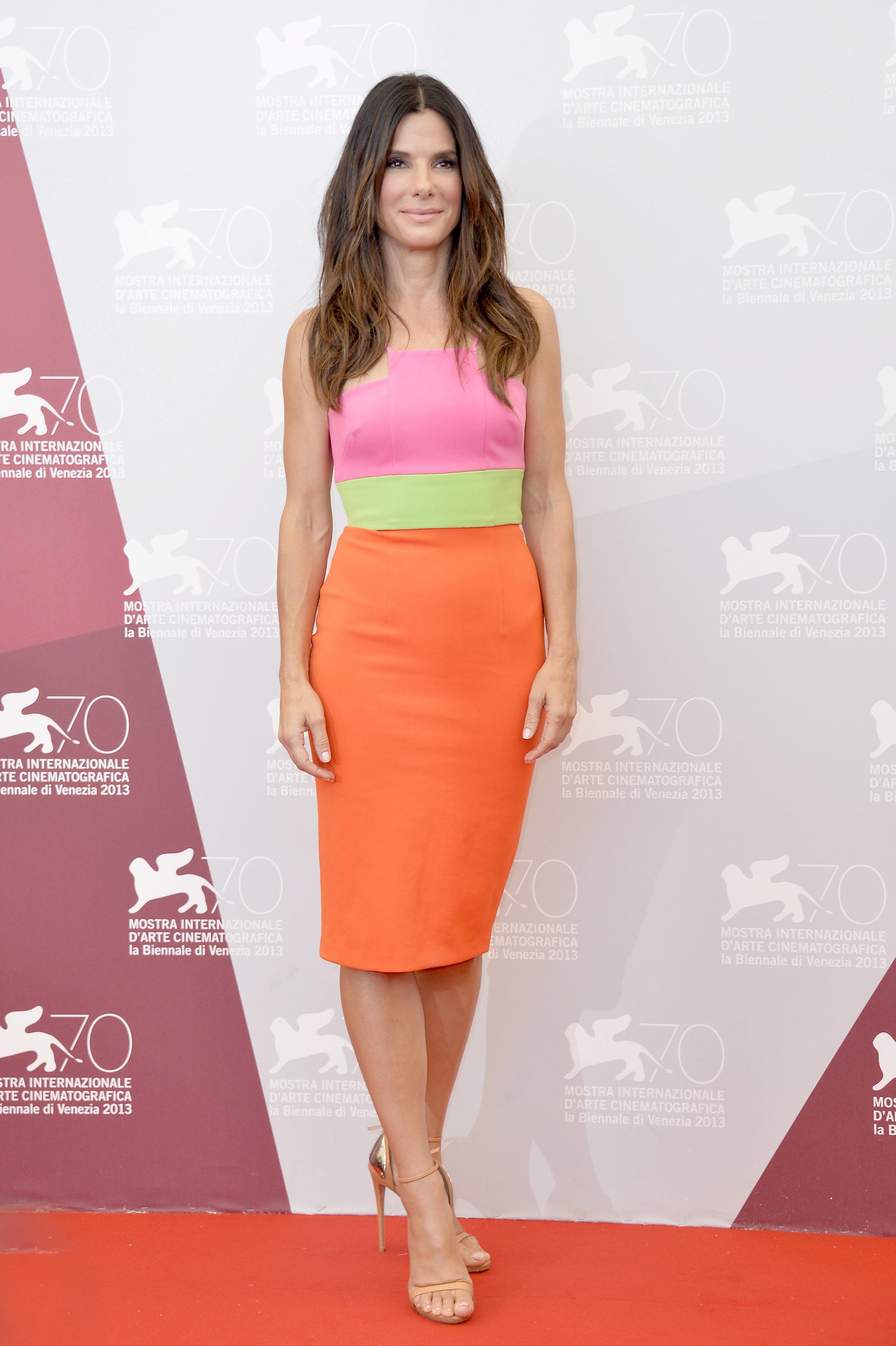 sandra bullock neon dress