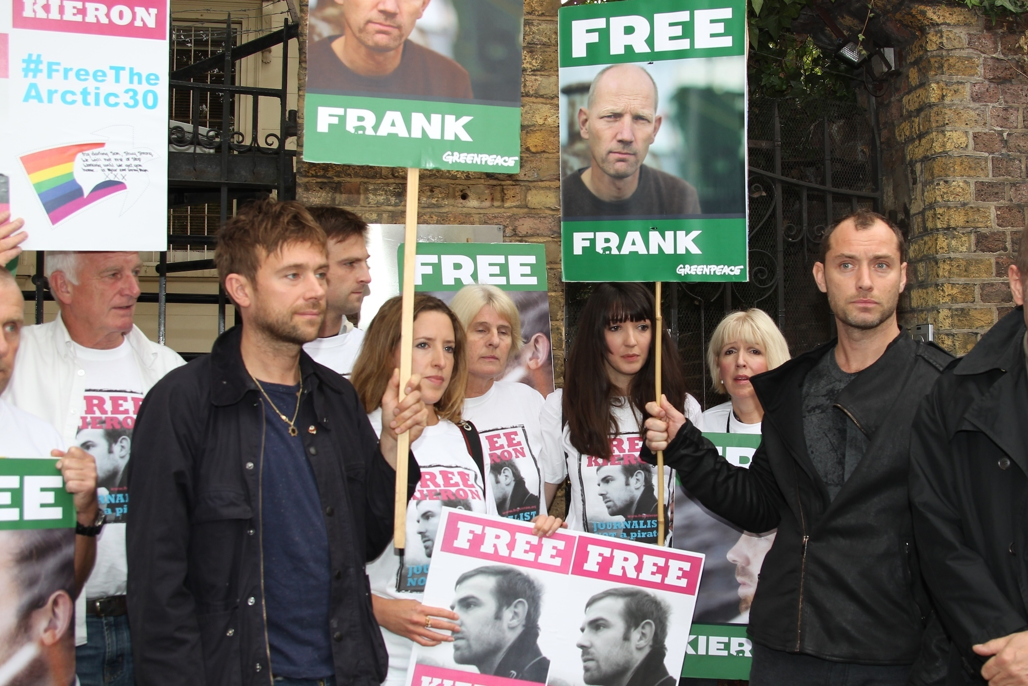 Jude Law Damon Albarn protest