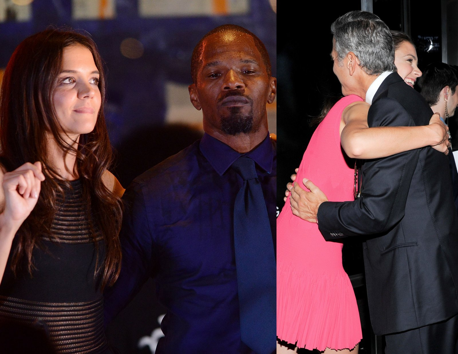Katie Holmes with Jamie Foxx and George Clooney